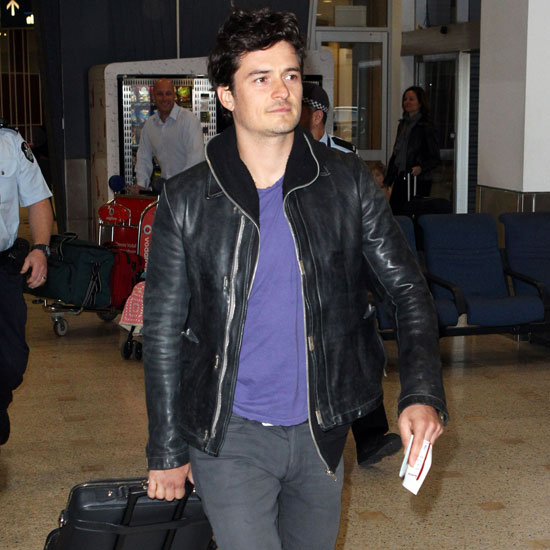 Orlando Bloom sported a leather jacket.