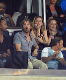 Gerard Butler watches the MLS All Star game.