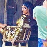 Kim Kardashian slipped into a sexy, sequin frock.