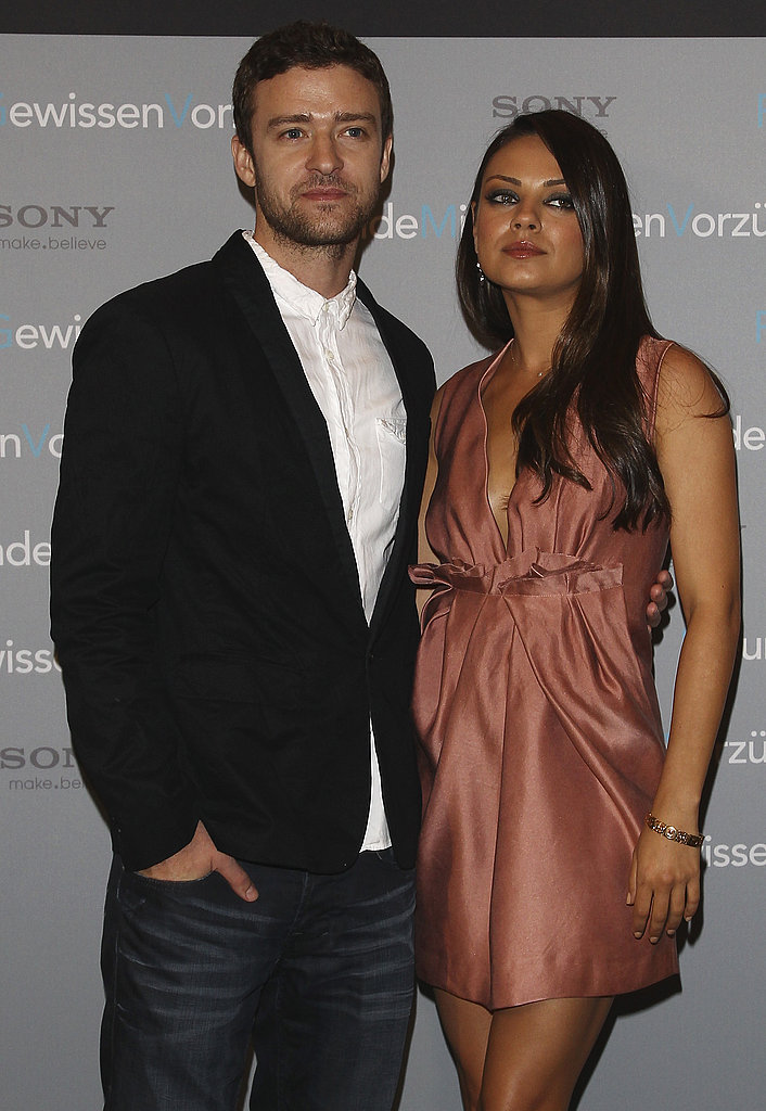 Mila Kunis joined Justin Timberlake at the photocall.