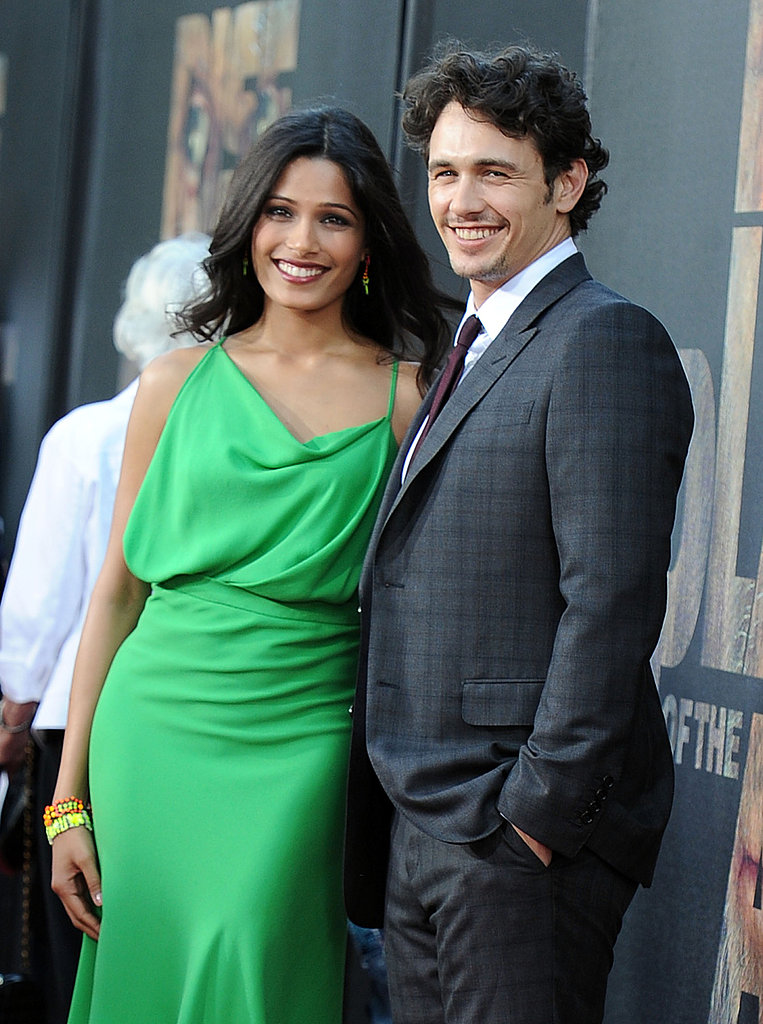 Freida Pinto and James Franco flashed smiles.