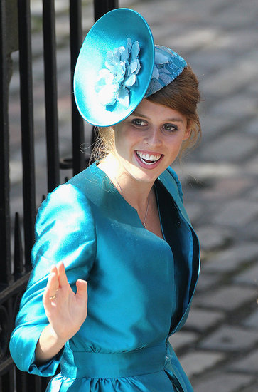 Princess Beatrice wears a hat to Zara Phillips and Mike Tindall's wedding.