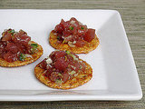 Tuna Tartare on Rice Crackers