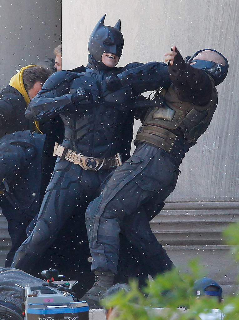 Christian Bale as Batman and Tom Hardy as Bane in The Dark Knight Rises.