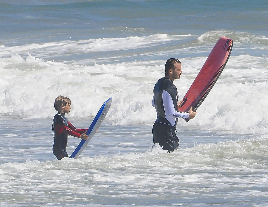 David and Romeo stood ready to attack the surf.