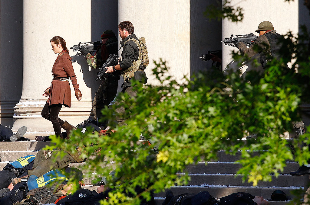 Marion Cotillard shooting The Dark Knight Rises.