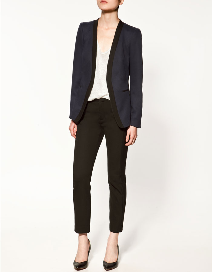 Blazer with Shiny Lapel, $89