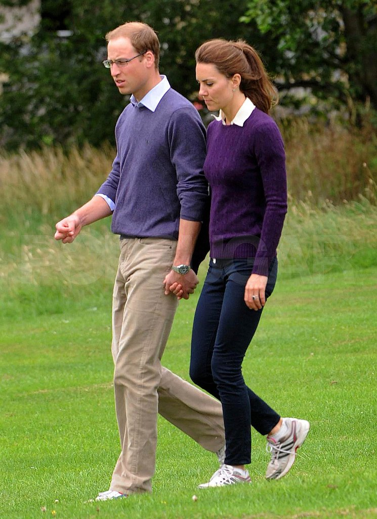 Kate Middleton and Prince William Match Their Sweaters and Collars For a Hand-in-Hand Walk