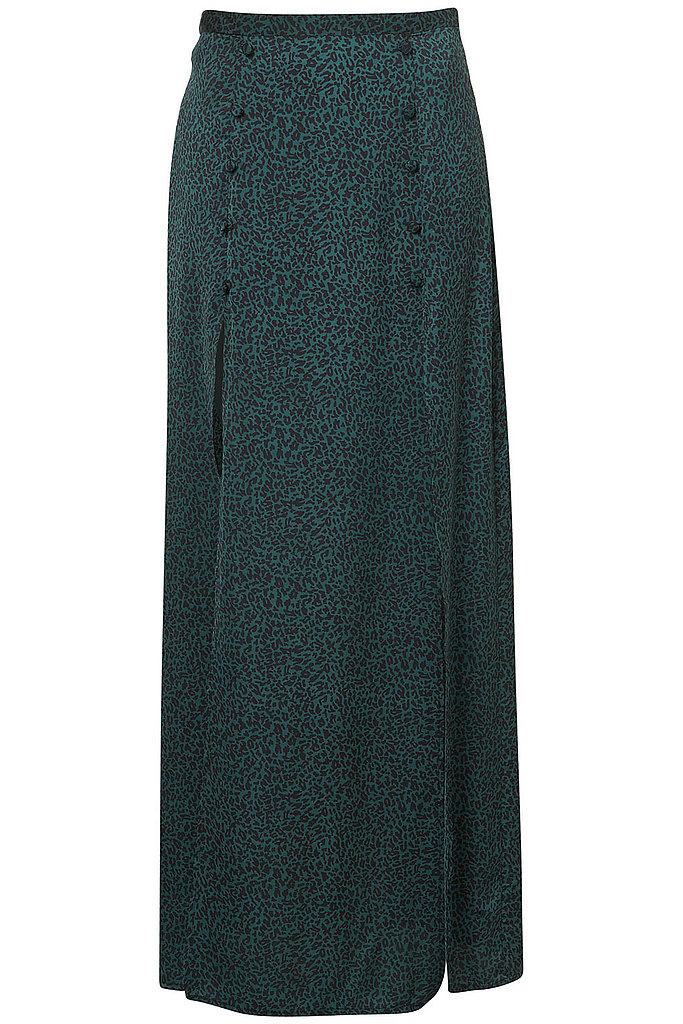 Channel Agyness Deyn's maxi leopard style in a funky chic green print. Topshop Leopard Print Split Front Maxi ($110)