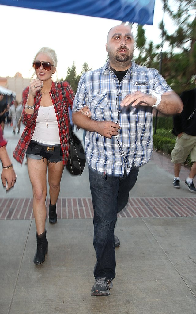 Lindsay Lohan broke out her short shorts for the UCLA performance.