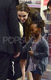 Angelina Jolie and Zahara Jolie-Pitt met a new friend at a London toy store.