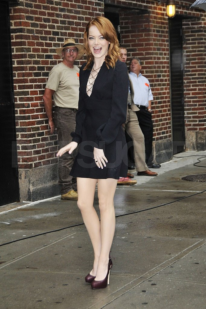 Emma Stone looked hot in her Azarro mini dress.