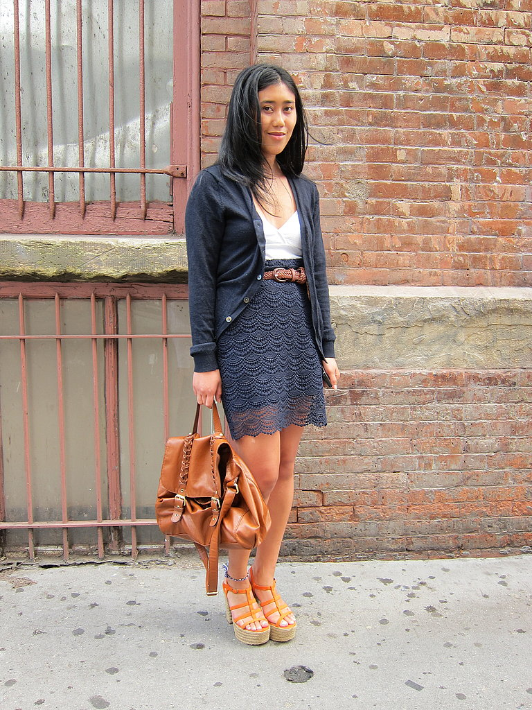 We love her espadrille heels and femme skirt.