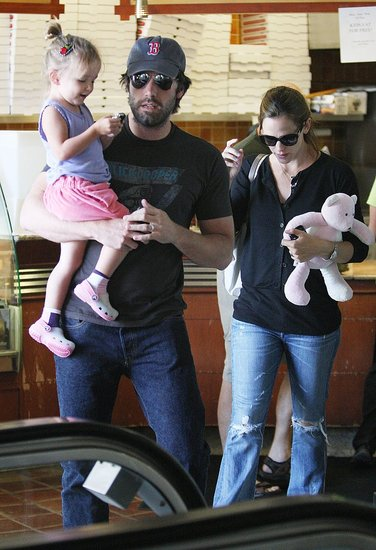 Scruffy Ben Affleck Carries a Playful Seraphina and Supports His Boston Boys