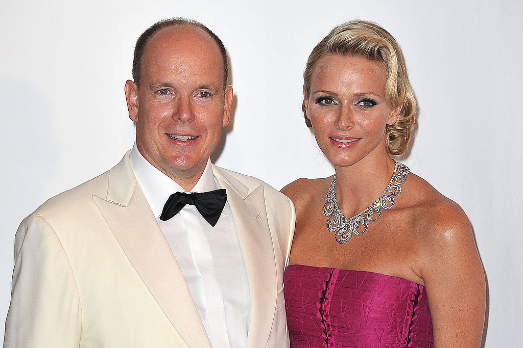 The Prince and Princess of Monaco smile at the gala.