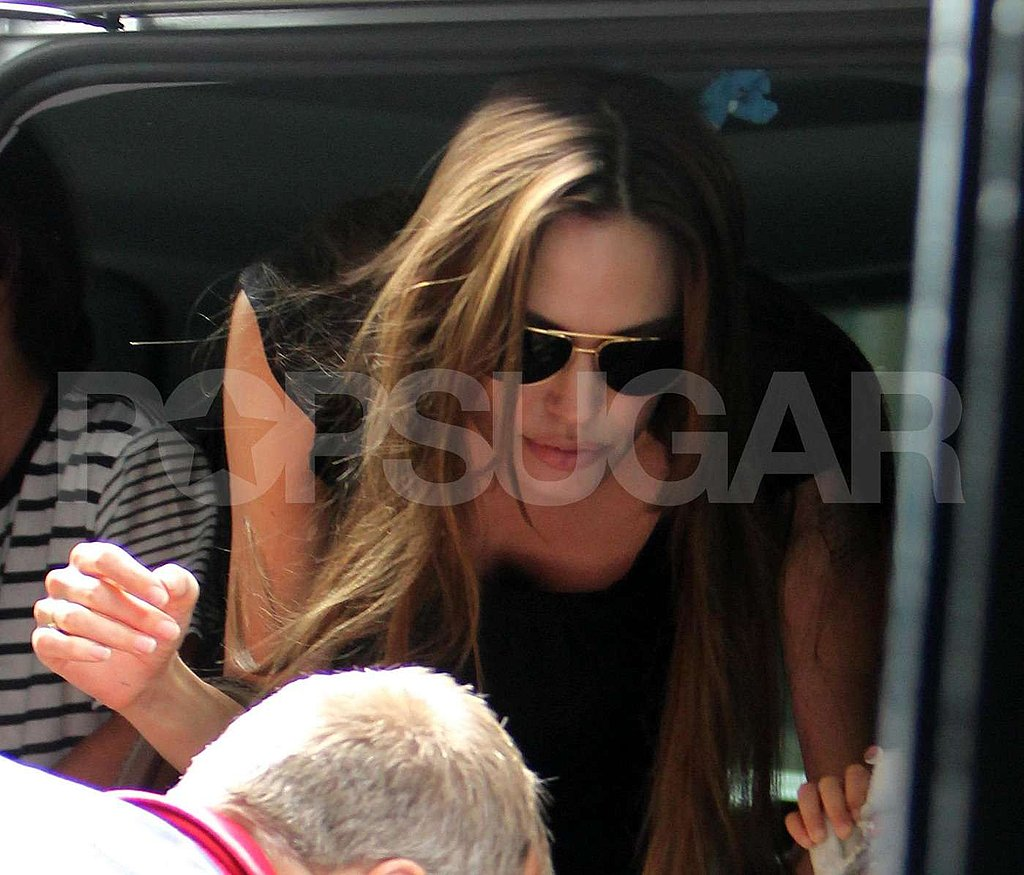 Angelina stepped out of the car.