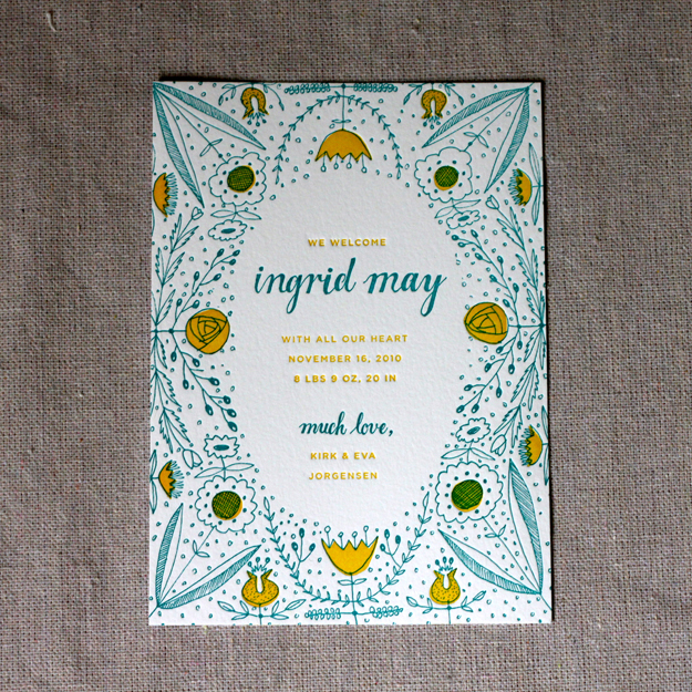 Folk Art-Inspired Birth Announcements