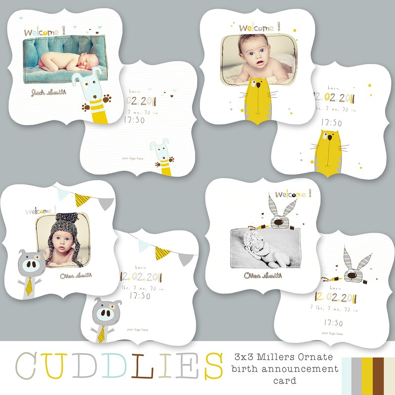 Cuddlies 3x3 Luxe Birth Announcements