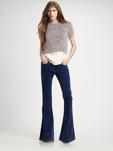 Theory Hessa Angora-Blend Cropped Sweater, $255; Theory Crushed-Velvet Bell Bottom Pants, $255