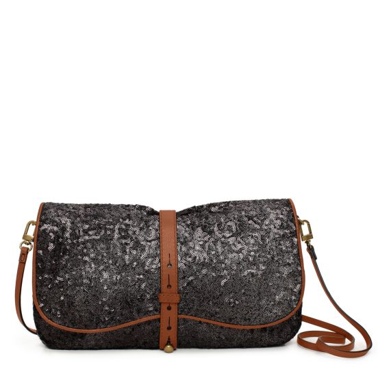 Westward Ingenue Clutch in Plata Sequins, $545