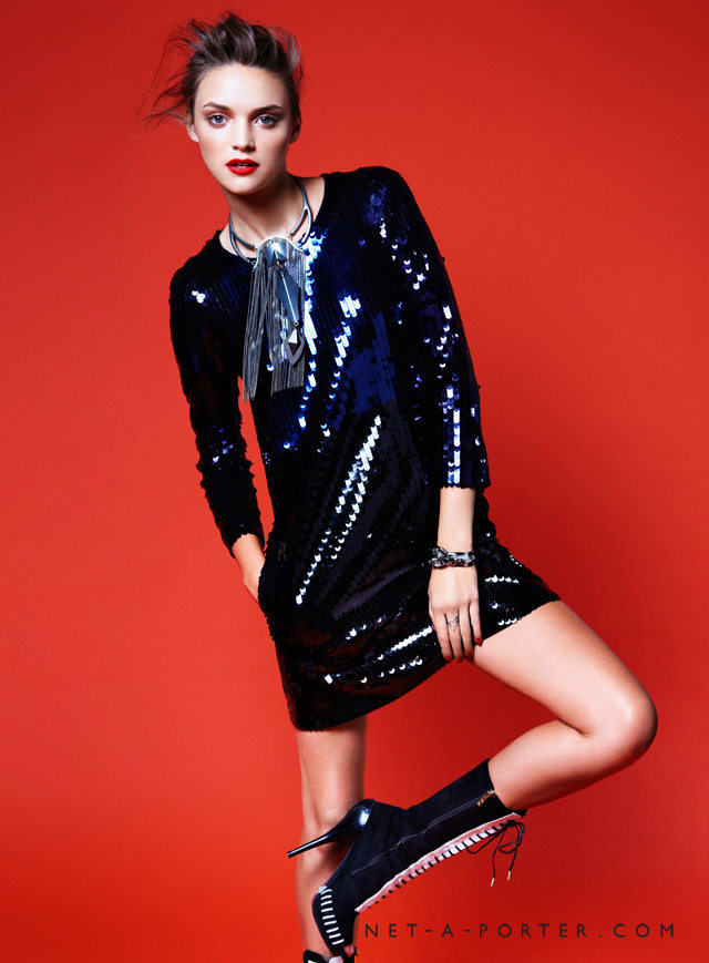 Forget body-con, a sequin dress in a loose silhouette emotes a chic carefree vibe — especially when paired with booties.