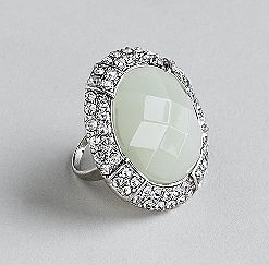 Kardashian Kollection Metal Ring With Marbled Faceted Acrylic Stone And Rhinestone Border ($15, originally $22)