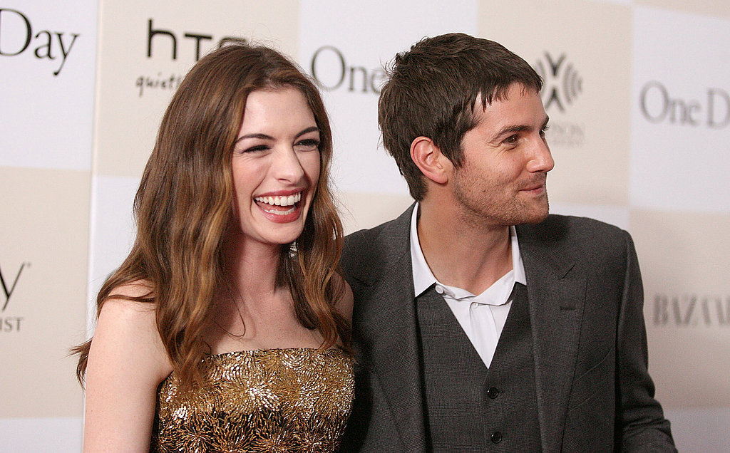 Anne Hathaway and Jim Sturgess smiling in NYC.