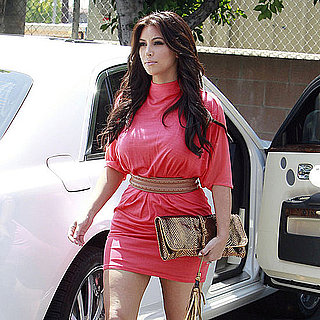 Pictures of Kim Kardashian Wearing a Pink Minidress in LA