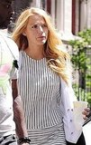 Blake Lively wore a striped minidress.
