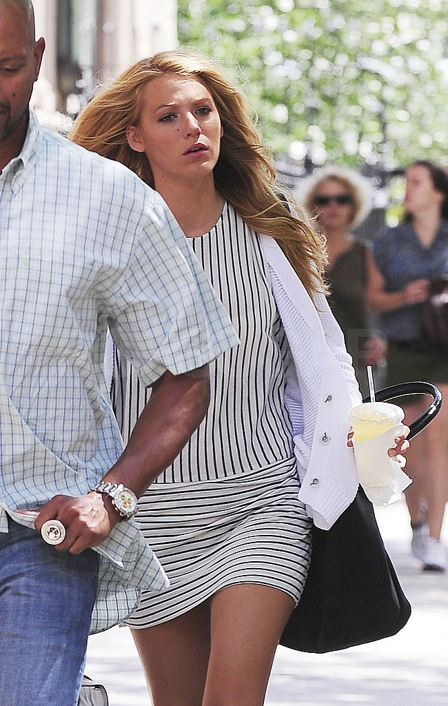 Blake Lively carried a drink in NYC.