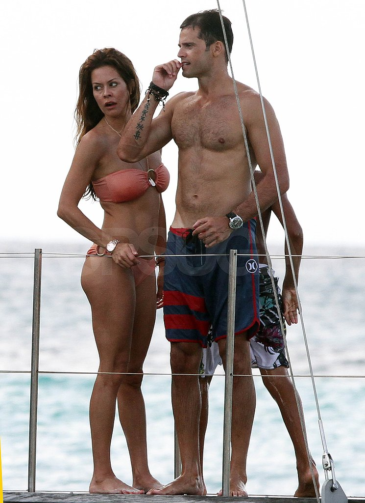 David Charvet and bikini-clad Brooke Burke hang out in St. Bart's.