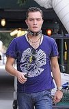 Ed Westwick arrived to work with his headphones.