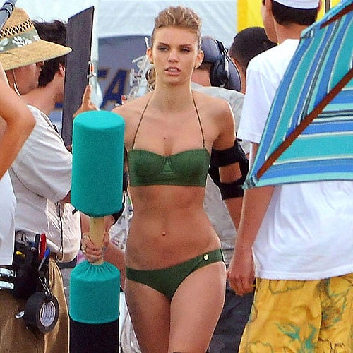 AnnaLynne McCord Green Bikini Pictures Shooting 90210