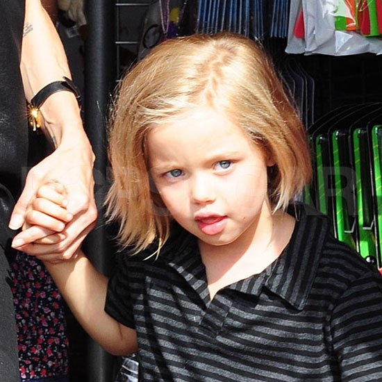 Shiloh Jolie-Pitt leaving London's Toy Station.
