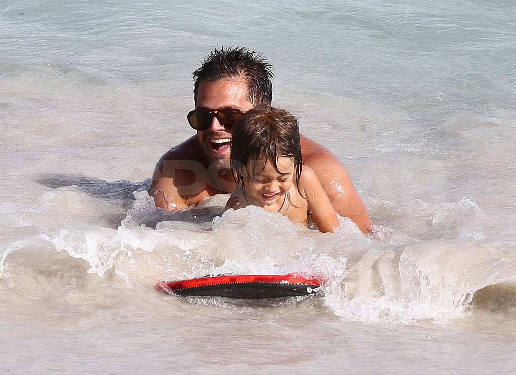 David Charvet shirtless with his kids.