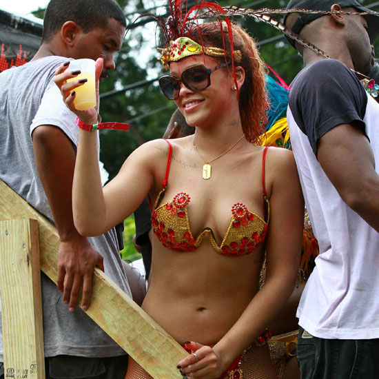Rihanna slipped into a bikini and partied with the people of Barbados during the annual Kadooment Day parade in August 2011.