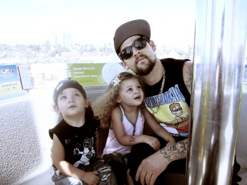 Joel Madden spends time with Harlow Madden and Joel Madden before his Good Charlotte tour.