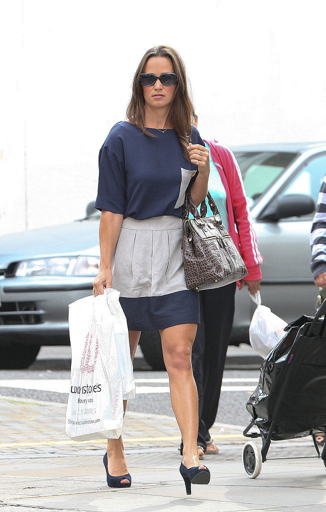 Pippa Middleton with a bag from Waterstone's book shop.