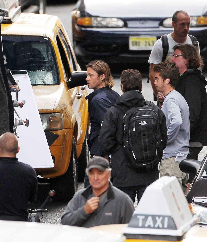 Brad Pitt on the World War Z set in Scotland.