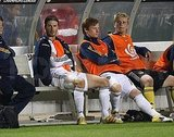David Beckham sat on the sidelines.