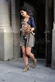 Katie Holmes in her favorite tan boots.