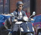 Andrew Garfield rode a black Vespa around LA.