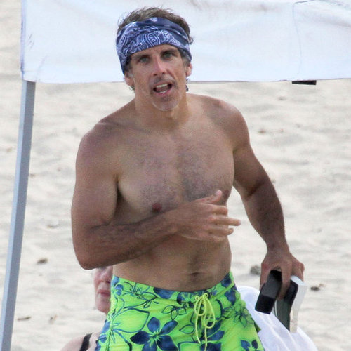 Ben Stiller Shirtless Pictures in Hawaii With Christine Taylor