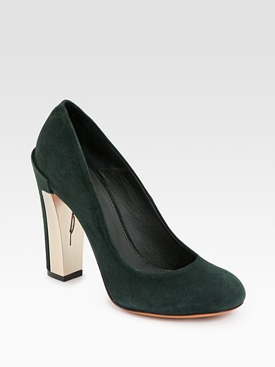 Pangea Green Suede Pumps ($400)