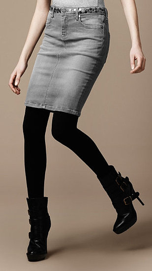 The studded detail and gray hue will add a hardcore edge to any nighttime look, especially when accompanied with tough booties and a leather jacket. Burberry Metallic Studded Grey Wash Denim Skirt ($325)