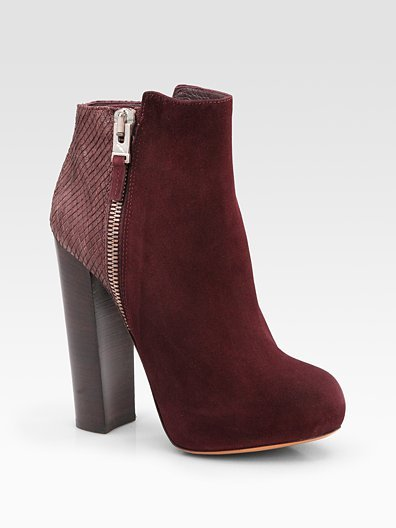 Paramour Suede and Snake-Print Leather Ankle Boots ($450)