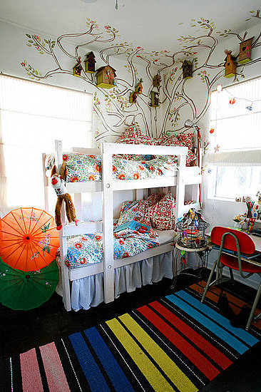 Whimsical Chic Girls Shared Bunk Room