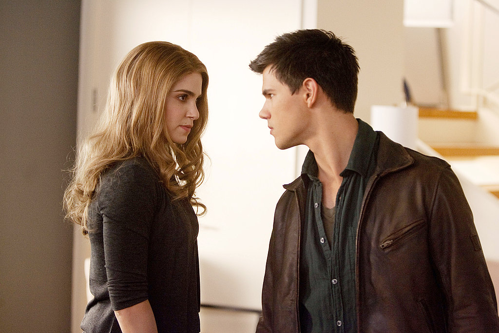 Nikki Reed and Taylor Lautner share a scene in Breaking Dawn.