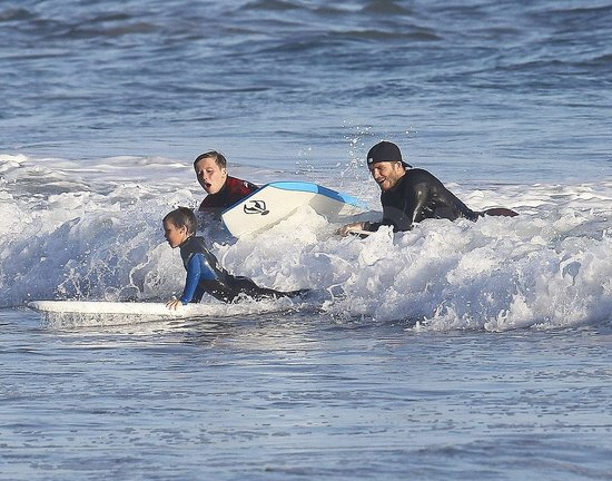 David Beckham and the Boys Make a Splash as They Boogie Board in Malibu