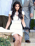 Kim Kardashian in a white dress at rehearsal dinner.